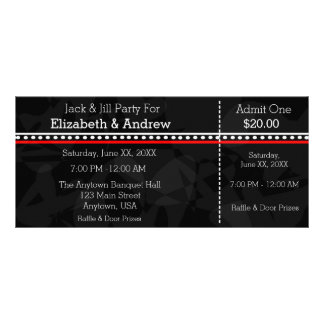 Black White and Red Jack & Jill Shower Tickets Customized Rack Card