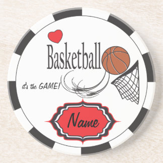 Black, White and Red Love Basketball Coaster