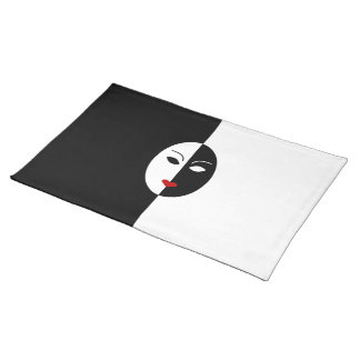 Black White and Red Mask Placemat