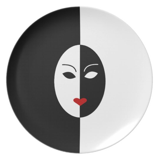 Black White and Red Mask Plate