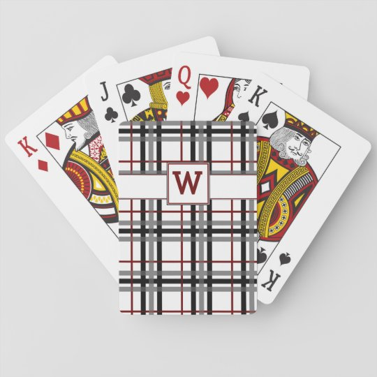 Black White and Red Plaid Classic Playing Cards