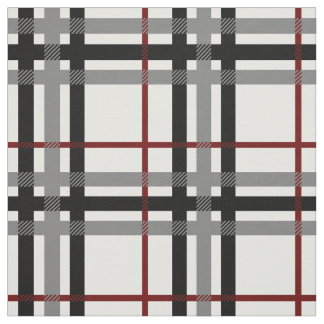 Black White and Red Plaid Fabric
