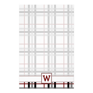 Black White and Red Plaid Stationery