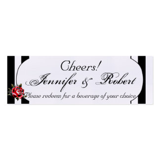 Black White and Red Rose Wedding Drink Tickets Business Card Templates