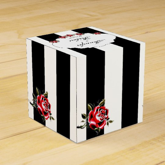 Black White and Red Rose Wedding Favour Box