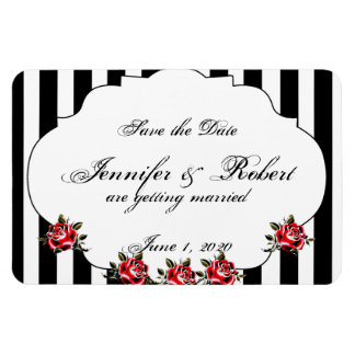 Black White and Red Rose Wedding Save the Date Rectangular Photo Magnet