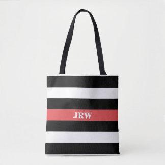 Black White and Red Striped Monogram Tote Bag