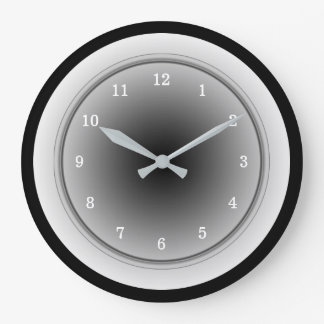 Black White and Silver Gray Monochrome Clock