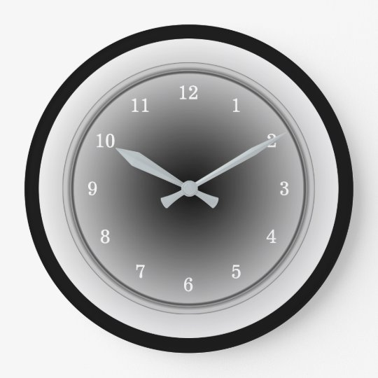 Black White and Silver Grey Monochrome Large Clock