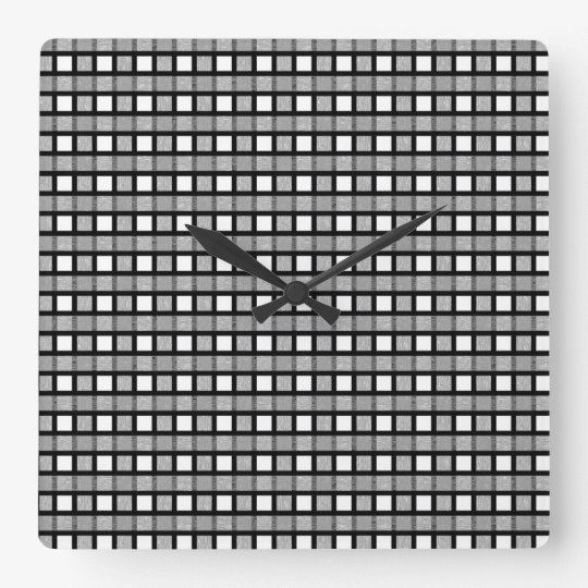 Black, White and Silver Static Weave Square Wall