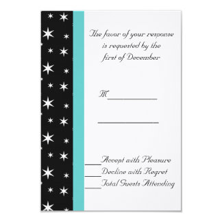 Black, White, and Teal Stars Wedding RSVP Card 9 Cm X 13 Cm Invitation Card