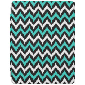 Black, White and Turquoise Zigzag Ikat Pattern iPad Cover