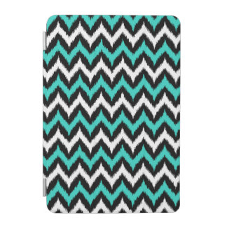 Black, White and Turquoise Zigzag Ikat Pattern iPad Mini Cover
