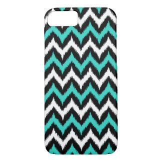 Black, White and Turquoise Zigzag Ikat Pattern iPhone 8/7 Case