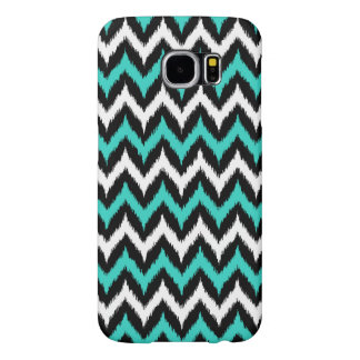 Black, White and Turquoise Zigzag Ikat Pattern Samsung Galaxy S6 Cases