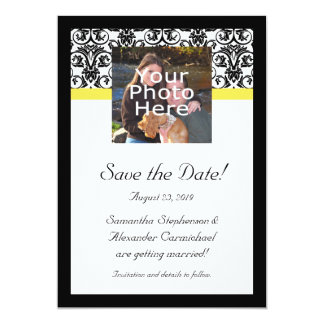 Black, White and Yellow Damask Photo Save the Date 13 Cm X 18 Cm Invitation Card