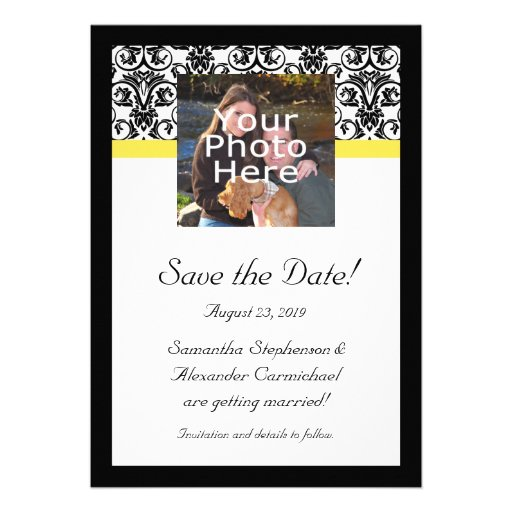 Black, White and Yellow Damask Photo Save the Date Personalized Invitations