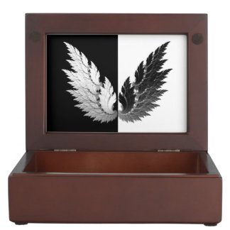 Black white Angel wings Keepsake Box