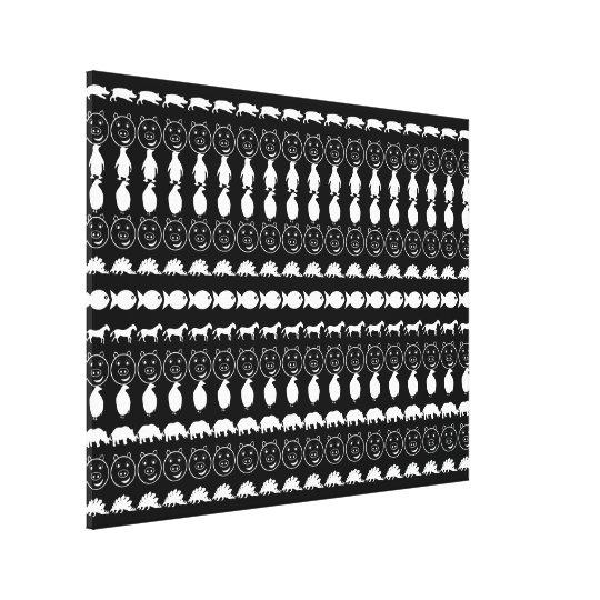 Black White Animals Modern Stripes Pattern Canvas Print