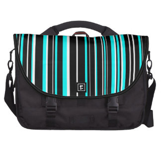 Black, White, Aqua Blue Barcode Stripe Laptop Bags