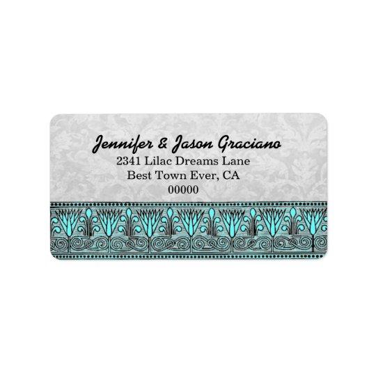 Black White Aqua Vintage Flowers  Scroll Wedding Address Label