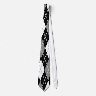 Black White Argyle Tie