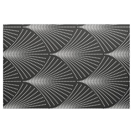 Art Deco Fan Pattern Black And White Fabric Zazzle