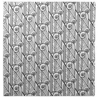Black & White Art Deco Pattern Napkin