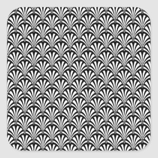 Black & White Art Deco Pattern Square Sticker