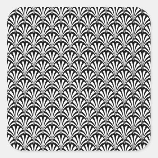 Black & White Art Deco Pattern Square Stickers