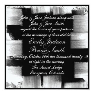 Black white artistic paint strokes wedding invites