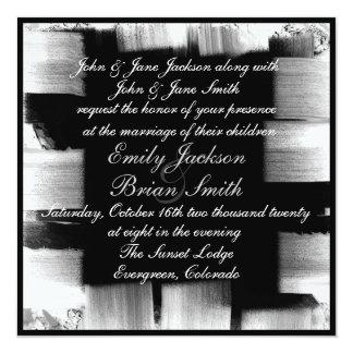 "Black white artistic paint strokes wedding invites 5.25"" square invitation card"