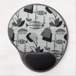 Black & White Atomic Pattern Gel Mousepad