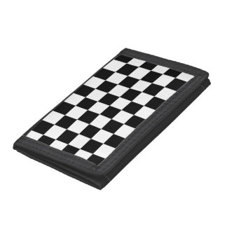 Black White Auto Racing Chequered Checkered Flag Tri-fold Wallets