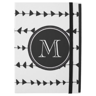 "Black White Aztec Arrows Monogram iPad Pro 12.9"" Case"