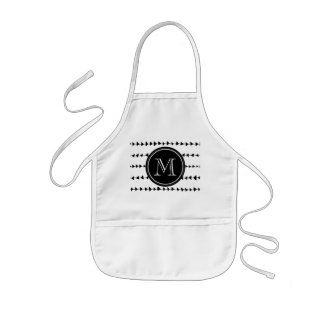 Black White Aztec Arrows Monogram Kids Apron