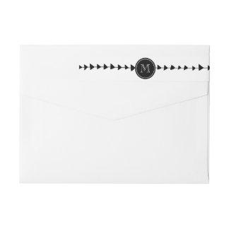 Black White Aztec Arrows Monogram Wraparound Return Address Label
