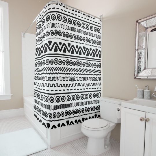 Black white Aztec pattern bathroom shower curtain