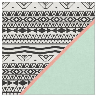 Black White Aztec Pattern Mint Green Color Block Fabric