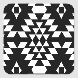 Black & White Aztec Pattern Square Sticker