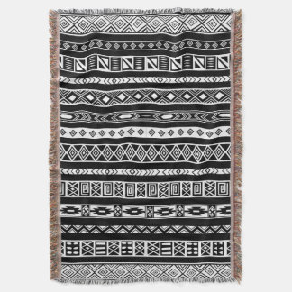 Black White Aztec Tribal Ethnic Geometric Pattern Throw Blanket