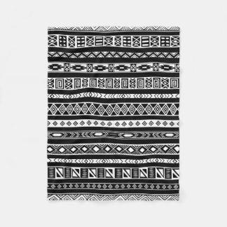 Black White Aztec Tribal Geometric Pattern Fleece Blanket