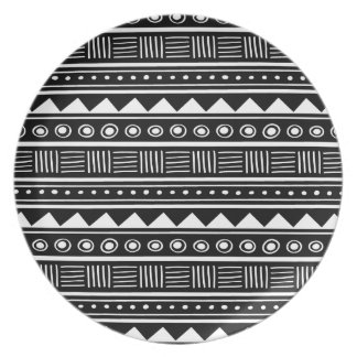 Black & White Aztec Tribal Pattern Plate