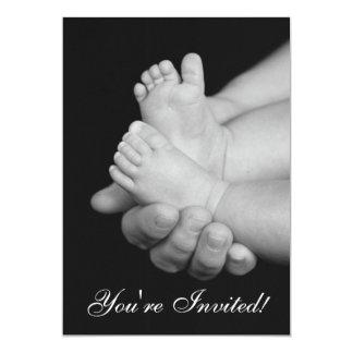 Black & White Baby Feet Baby Shower Invitation