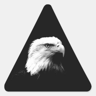 Black & White Bald Eagle Triangle Sticker