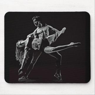 Black & White Ballet Couple Dancing Mouse Pad