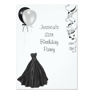 Black & White Balloons Formal 21st Birthday Card