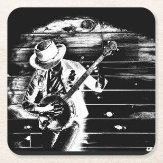 Black & White Banjo Man - Coasters
