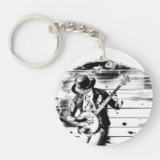 Black & White Banjo Man - Keychain