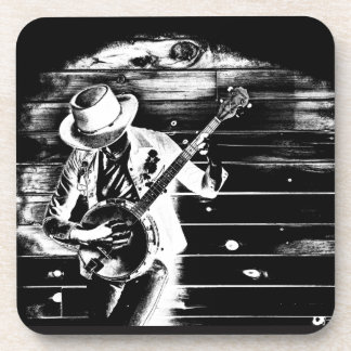 Black & White Banjo Man - Plastic coasters